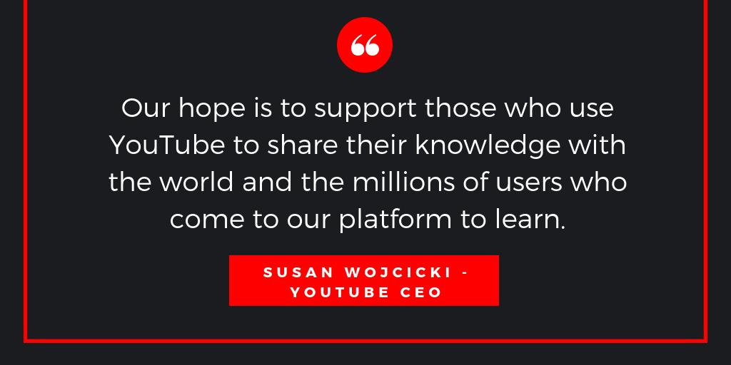 Zitat von Susan Wojcicki zum Lernen auf YouTube