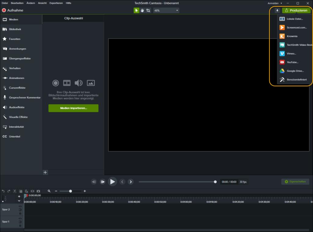 Klicken Sie auf Produzieren, um Videos fertigzustellen und zu exportieren.