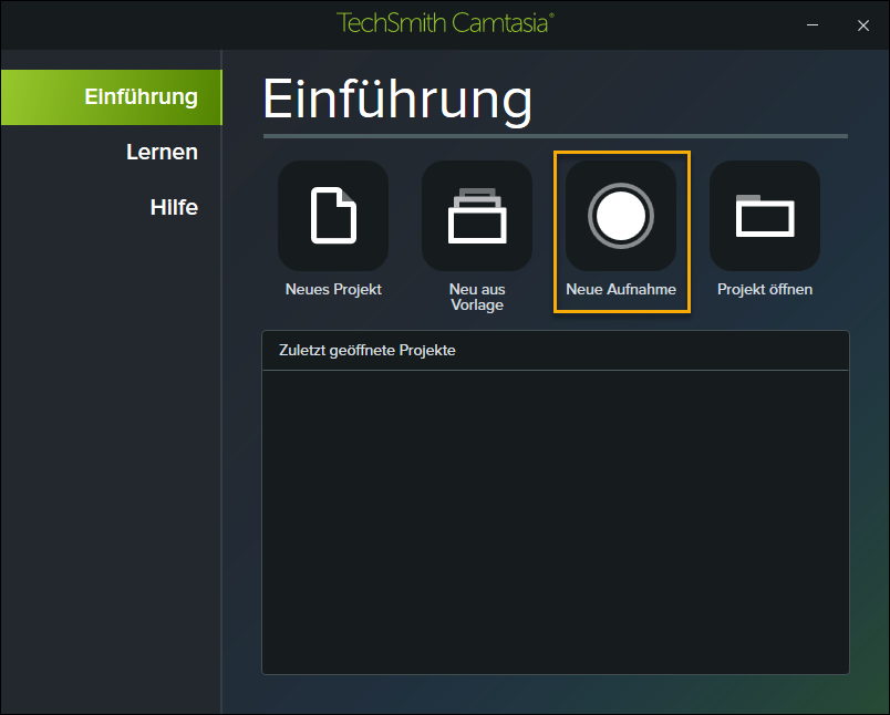 """Der neue """"Aufnahme-Knopf"""" für die Videosoftware TechSmith Camtasia."""